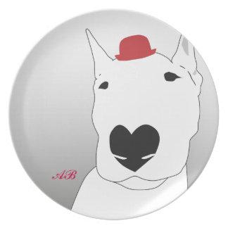 Personalizable: Perro en un hongo rojo Platos