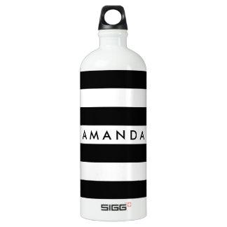 Personalizable rayado elegante blanco y negro botella de agua