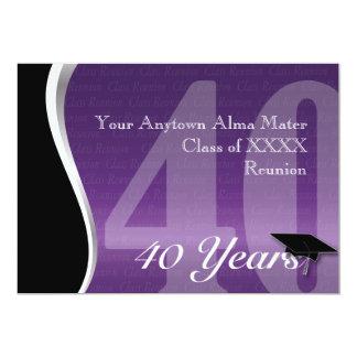 Personalizable reunión de antiguos alumnos de 40 invitación 12,7 x 17,8 cm