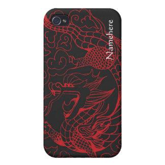 Personalizable: Rojo del dragón del Año Nuevo iPhone 4 Carcasa