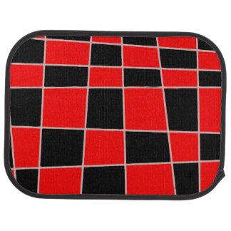 Personalizable rojo y negro de la tela escocesa alfombrilla de coche