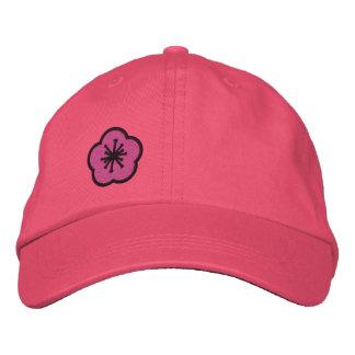 Personalizable rosado de la margarita de gorra bordada