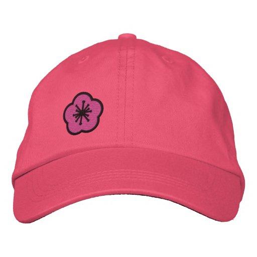 Personalizable rosado de la margarita de WhimsyMon Gorras Bordadas
