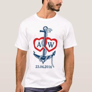 Personalizado casando el ancla náutica de la camiseta