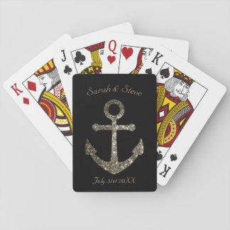 Personalizado casando favor náutico del ancla del barajas de cartas