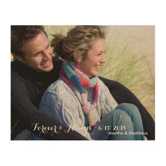 Personalizado casando la foto para siempre y impresión en madera