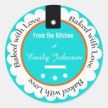 Personalizado cocido con las etiquetas de la etiqueta redonda