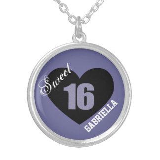Personalizado: Collar púrpura y negro del dulce 16