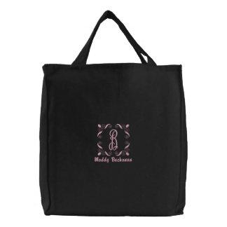 Personalizado con monograma del hilo rosado bolso de tela bordado