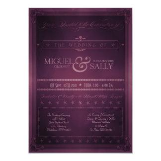 Personalizado de la púrpura del estilo del poster invitación 12,7 x 17,8 cm