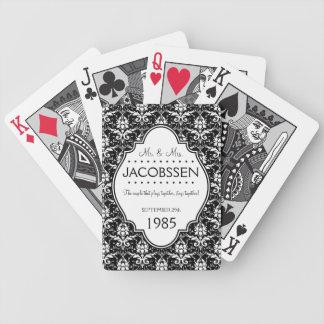 Personalizado del aniversario de boda blanco y neg baraja de cartas bicycle