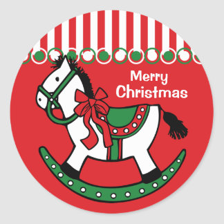 Personalizado del caballo mecedora del navidad etiqueta redonda