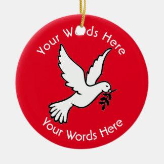 Personalizado del rojo de la paloma de la paz adorno redondo de cerámica