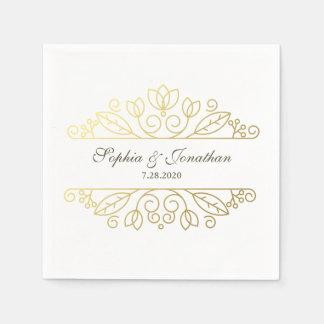Personalizado elegante del boda del oro del servilletas de papel