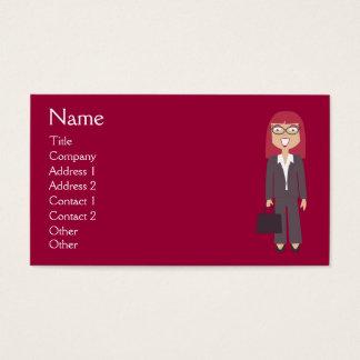 Personalizado feliz del rojo de la empresaria del tarjeta de negocios