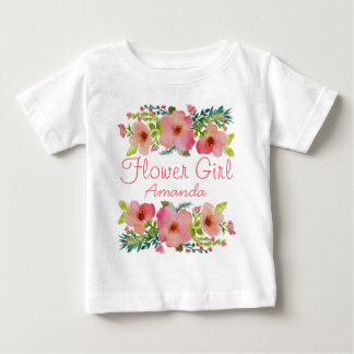 Personalizado floral camiseta de bebé