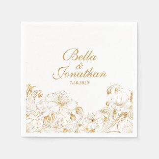 Personalizado floral del vintage del oro elegante servilleta desechable