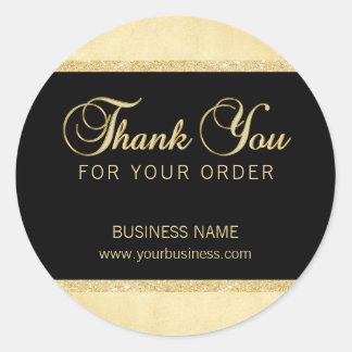 Personalizado gracias por su negro del oro de la pegatina redonda