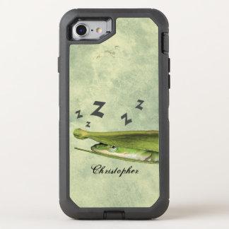 Personalizado juguetón divertido del lagarto verde funda OtterBox defender para iPhone 7