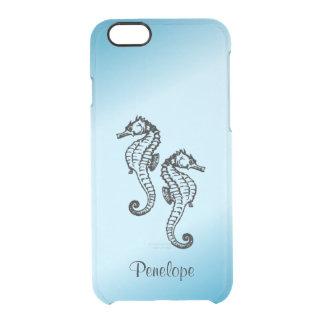 Personalizado personalizado azul del Seahorse Funda Transparente Para iPhone 6/6s