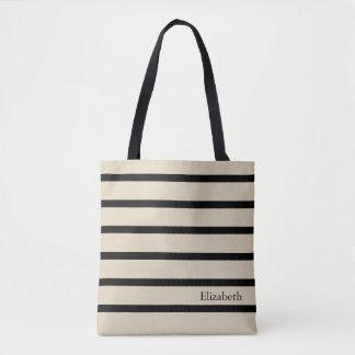 Personalizado rayado bolsa de tela