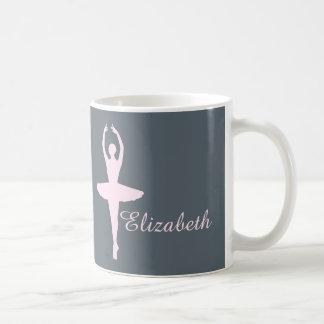 Personalizado rosado y gris del bailarín de ballet taza de café