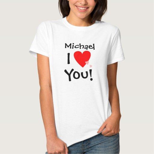 Personalizado te amo con nombre camisetas