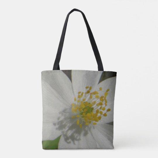 Personalizado todo encima - imprima la flor blanca bolsa de tela