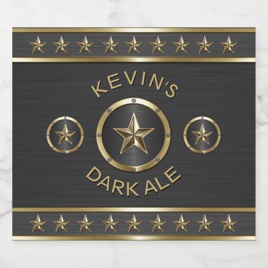 Personalizado triple del metal de la estrella etiqueta para botella de cerveza