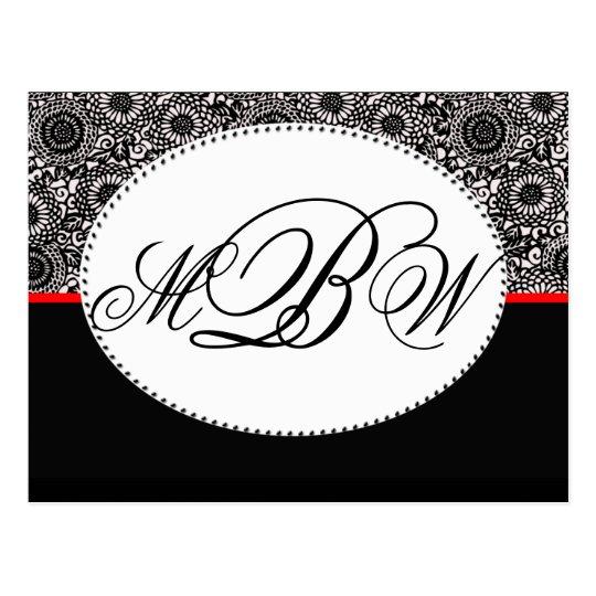 Personalizar blanco y negro del damasco su propio postal