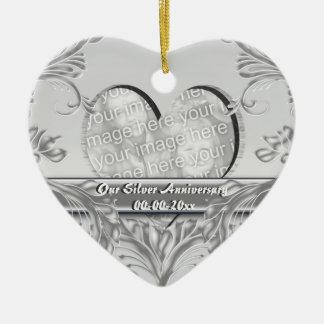 Personalizar de la foto del aniversario de bodas d ornaments para arbol de navidad