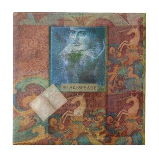 Personalizar del arte de Shakespeare con la cita Azulejo Cuadrado Pequeño