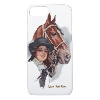 Personalizar ecuestre de la mujer y del caballo funda iPhone 7
