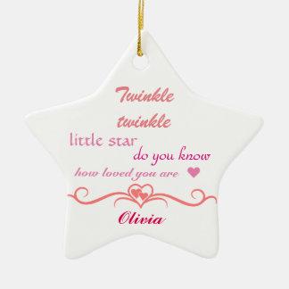 Personalizar, estrella del ornamento del navidad