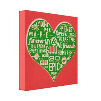 Personalizar verde rojo del healinglove del amor e lienzo envuelto para galerias