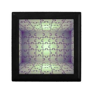 Perspectiva del cubo hecha de rompecabezas cajas de regalo