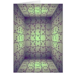 Perspectiva del cubo hecha de rompecabezas tarjeta de felicitación