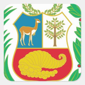 Perú - escudo Nacional (emblema nacional) Pegatina Cuadrada