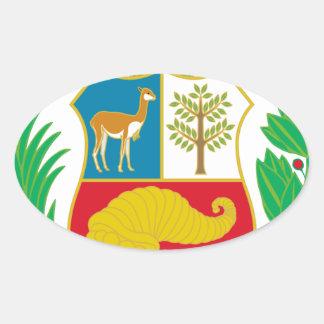 Perú - escudo Nacional (emblema nacional) Pegatina Ovalada