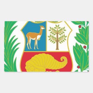 Perú - escudo Nacional (emblema nacional) Pegatina Rectangular