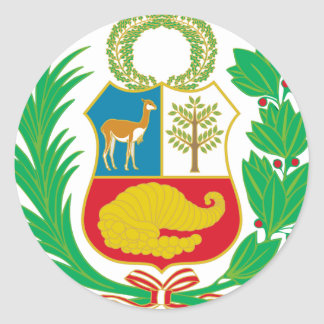 Perú - escudo Nacional (emblema nacional) Pegatina Redonda