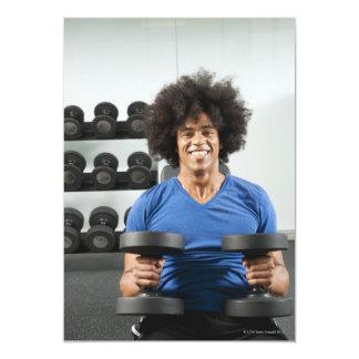 Pesas de gimnasia invitación 12,7 x 17,8 cm