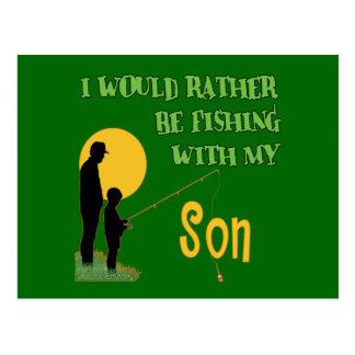 Pesca con el hijo postal