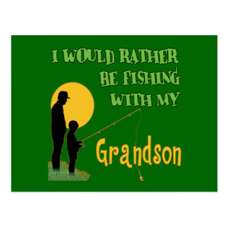 Pesca con el nieto postal