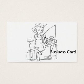 Pesca de la chica joven tarjeta de negocios