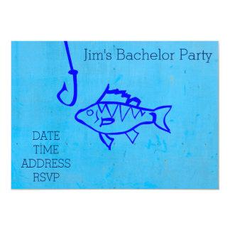 Pesca de la despedida de soltero azul temática invitación 12,7 x 17,8 cm