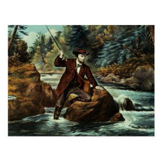 Pesca de la trucha de arroyo - un momento ansioso tarjetas postales