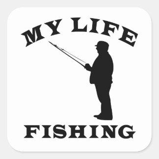 Pesca de mi vida pegatina cuadrada
