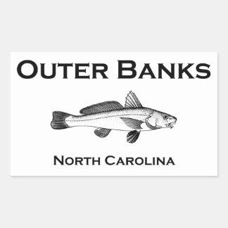 Pesca de resaca de Outer Banks Carolina del Norte Pegatina Rectangular