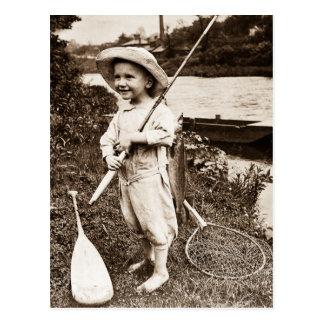 Pesca de Stereoview del vintage del chico del Postal